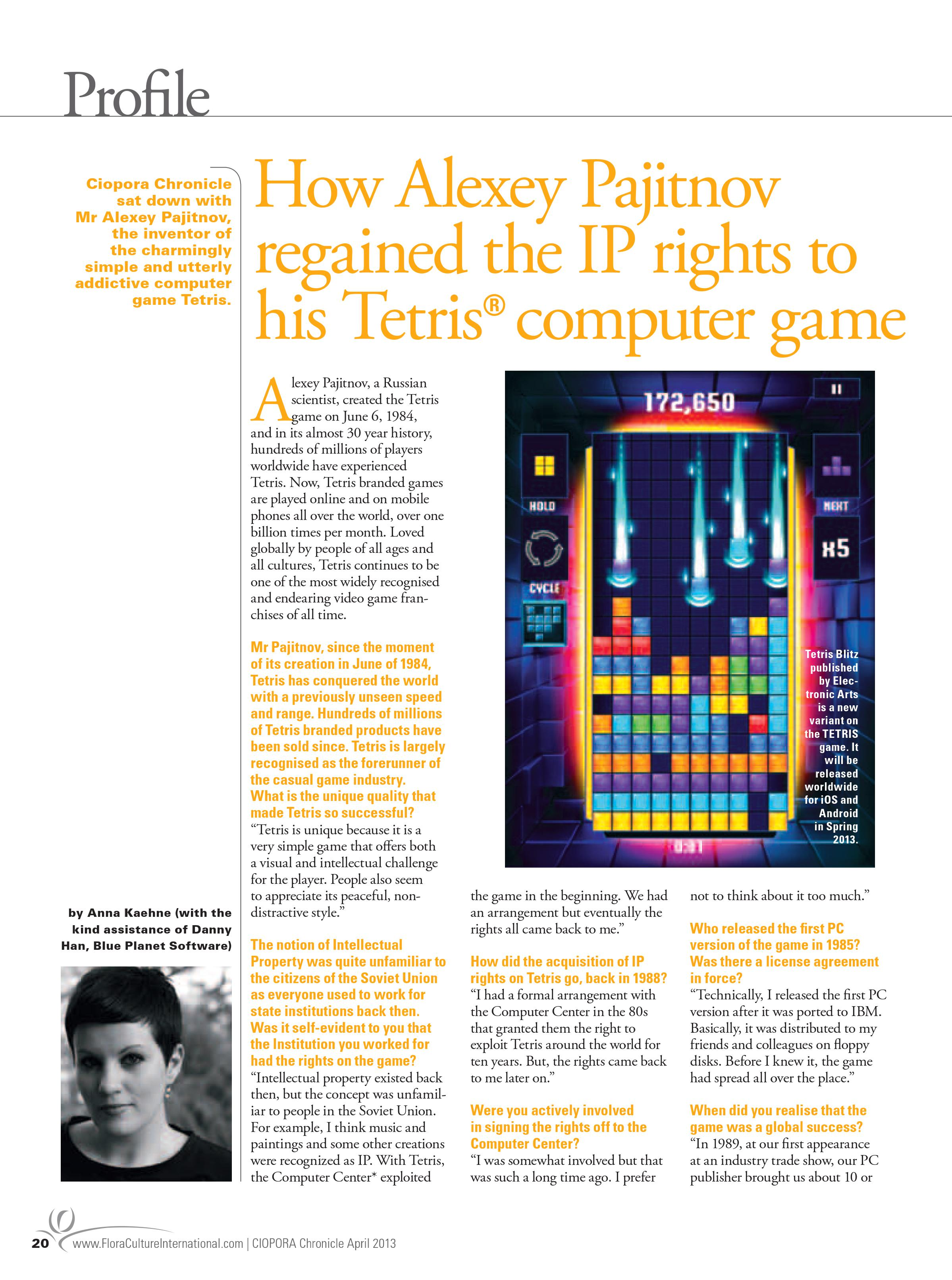 Interview with Alexander Pajitnow, the inventor of Tetris©